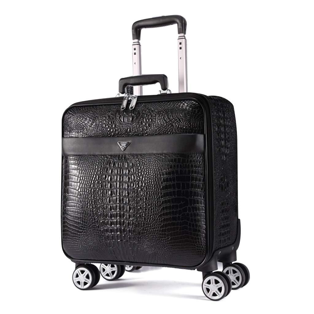 ラゲッジブラック16インチ、4輪付きレトロビジネスローリングスーツケース、チェックインスーツケース、ラゲッジロック付きスモールスーツケース   B07MKK24CF