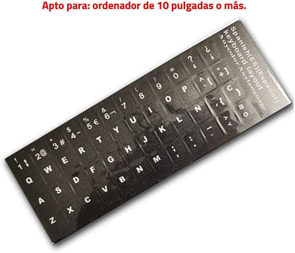 E-NUC Adhesivo Teclado Español (Letras de Botón, Impermeable, Resistente, para Portátiles, Ordenadores de Mesa, Fácil de Despegar y Pegar) - Negro