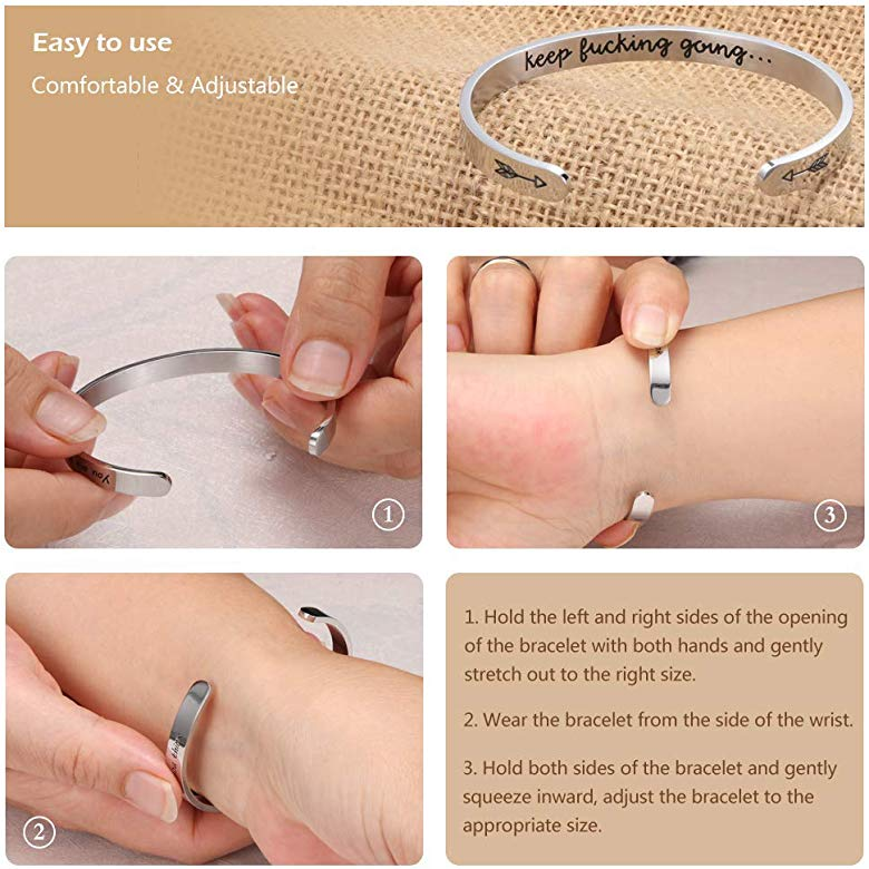 Chic/&Artsy Inspirational Bracelet Cuff Bangle Keep Going Stainless Steel Engraved Friend Encouragement Jewelry Gift for Women Teen Girls