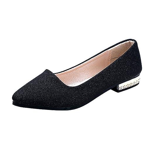 18d4d0bb6cb09 Amazon.com: Women's Flats Low Heel Shoe Ladies Sequins Shallow Shoes ...