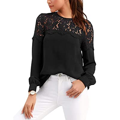 Celmia Womens Lace Blouses Tops Long Sleeve Botton Down Shirts Tunic Crewneck at Women's Clothing store