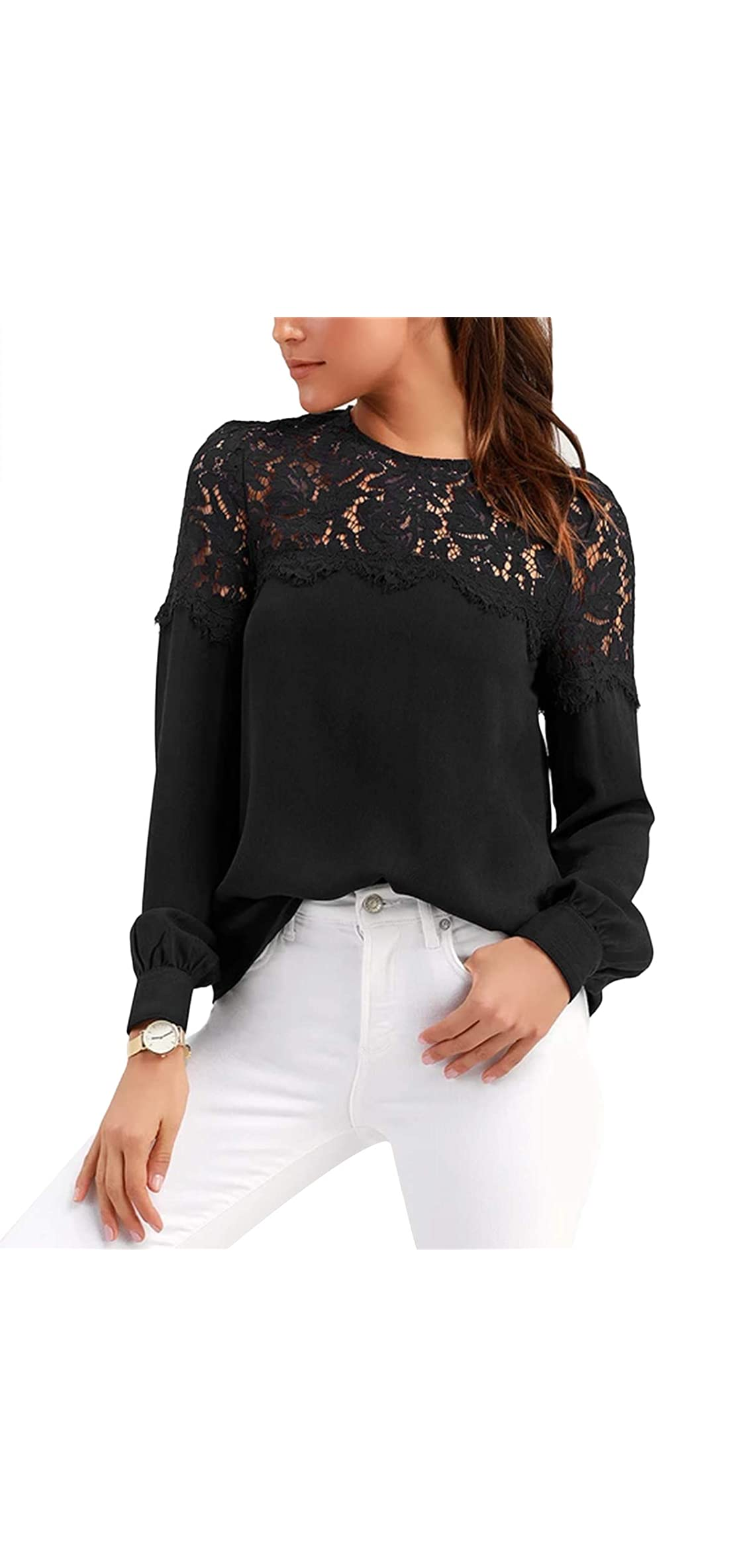 Womens Lace Blouses Tops Long Sleeve Botton Down Shirts