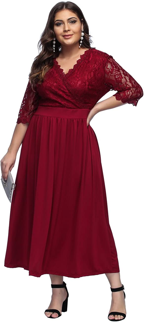 TALLA 4XL/ES 58-60. FeelinGirl Mujer Vestido de Noche Encaje Largo Traje Talla Extra Grande Cóctel Cintura Alta Encaje-rojo 4XL/ES 58-60