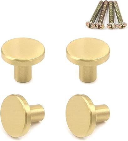 1 x Wooden /& Brass Round Modern Knob Drawer Knob Door Kitchen Bedroom
