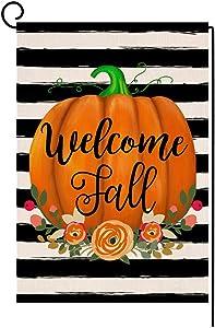 Welcome Fall Pumpkin Stripe Thanksgiving Garden Flag Vertical Double Sided Farmhouse Autumn Burlap Yard Outdoor Decor 12.5 x 18 Inches (163299)