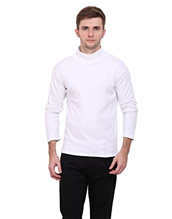 df01c00ba62 LE BOURGEOIS White Color high Neck Full Sleeve Men s t-Shirt  Amazon.in   Clothing   Accessories
