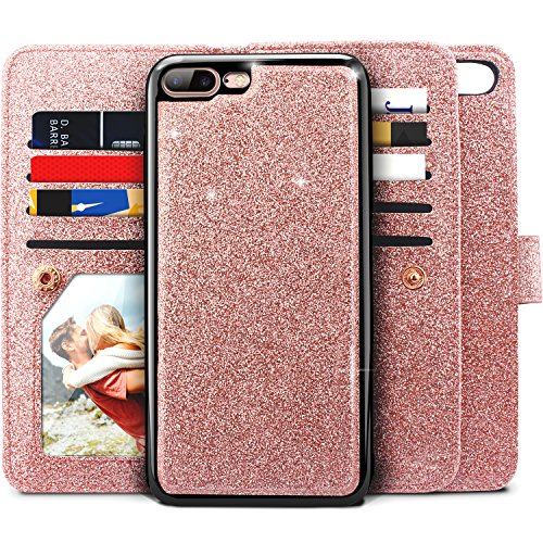 iPhone 8 Plus Case, iPhone 7 Plus Case, Miss Arts Glitter Detachable Slim Case with Car Mount Holder, 9 Card Slots, Magnet Clip, PU Leather Wallet for Apple iPhone 7 Plus 8 Plus -Rose Gold