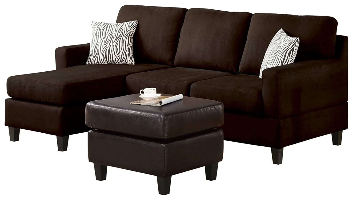 Amazon.com: ACME Vogue Reversible Sectional Chaise, Chocolate Microfiber:  Kitchen U0026 Dining