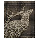 1 Piece 60 X 80 Inch Light Brown Lodge Deer Fleece Throw Blanket For Kids, Stylish Printed Design Animal Nature Themed Wildlife Motif Geometric Plush, Casual Modern Plain Weave, Polyester