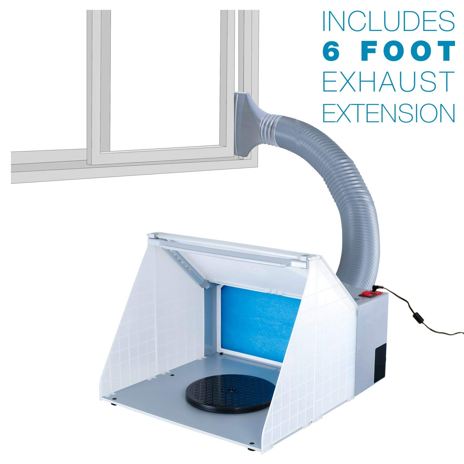 Master Airbrush Brand Lighted Portable Hobby Airbrush Spray Booth with LED Lighting for Painting All Art, Cake, Craft, Hobby, Nails, T-Shirts & More. Includes 6 Foot Exhaust Extension Hose by Master Airbrush (Image #3)