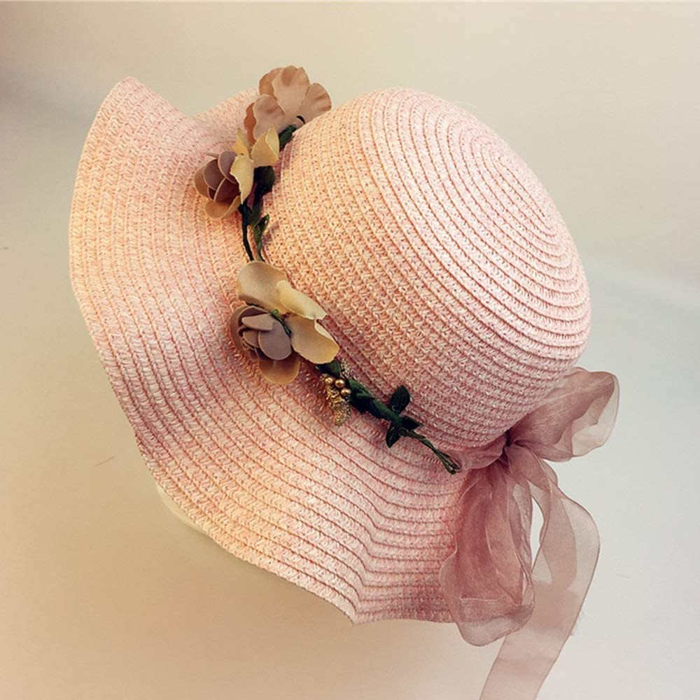 Parent-Child Color : Sky Blue, Size : L Girl Fisherman hat Child hat Beach Sun hat XINGZHE09 Sun hat Sombrero Straw hat 2019 New Summer