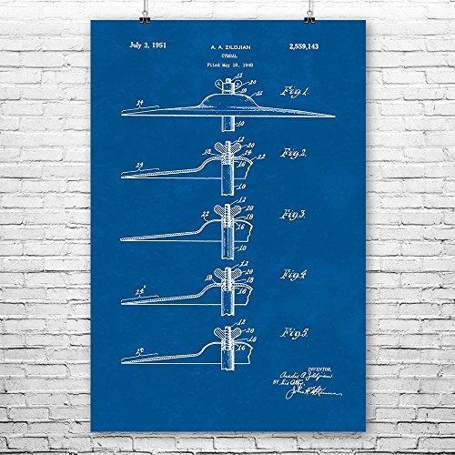- Patent Earth Zildjian Ride Cymbal Poster Print, Drummer Enthusiast, Band Director Gift, Music Teacher Gifts, Musical Instrument Blueprint (9