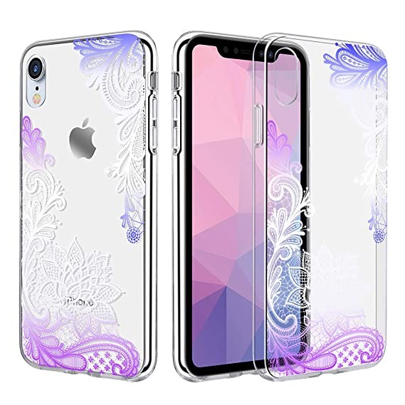 wholesale dealer bfef4 150fd Caka Clear Case Compatible for iPhone XR Clear Floral Case Flower Pattern  Slim Girly Anti Scratch Excellent Grip Premium Clarity TPU Crystal ...