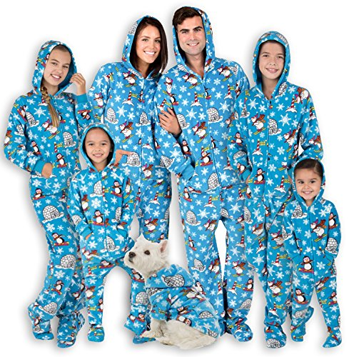 Footed Pajamas - Family Matching Winter Wonderland Hoodie Onesies for Boys, Girls, Men, Women and Pets