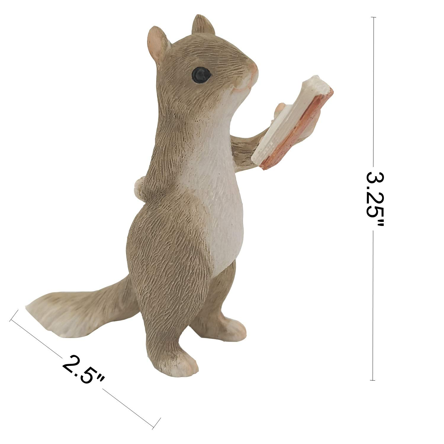 Gemmia Garden Squirrel Figurine-Raise Books Squirrel Statue