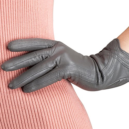 Nappaglo Nappa Leather Gloves Warm Lining Winter Handmade Curve Imported Leather Lambskin Gloves for Women (XXL, Light Grey)
