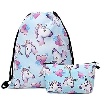 hellat perro Fashion 2 unidades/Pack Escuela Mochila femeninos Bolsas para niña Bolsa Hipster Bolsa Mochila Bolsa con Neceser Unicornio