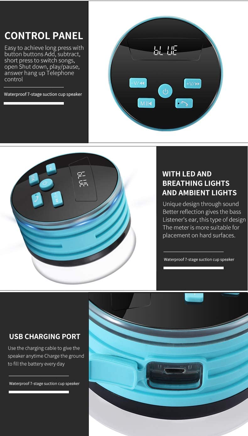 Shower Speaker Radio with Bluetooth IPX7 Waterproof Portable Wireless Speaker with LED Mood Lights Suction Cup Hands-Free Buit-in Mic Blue 5W Driver