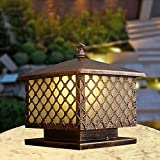 Modeen Tradition Antique Victoria 1-Light Glass Lantern Outdoor Table Lamp Column Lamp European Aluminum Waterproof Column Light E27 Decoration Garden Lawn Lights Street Post Light,Bronze