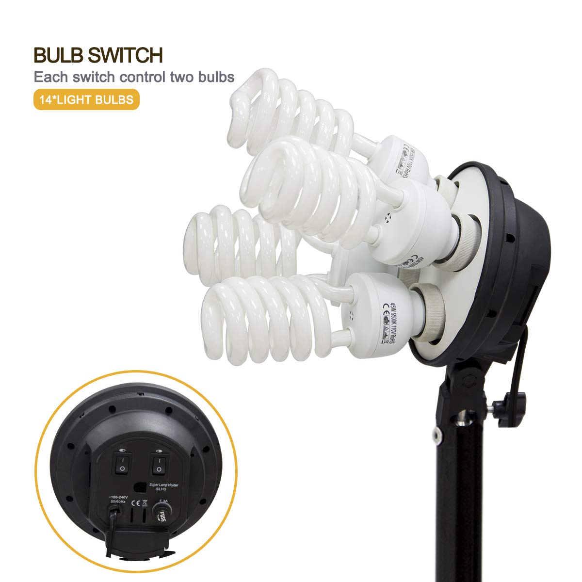Wisamic Photography Video Studio Lighting Kit, Background Support System 10ft x 6.6ft/2MX3M with 3 Color Backdrop, 3 Umbrella, 3 Softbox, Continuous Lighting Kit for Photo Video Shooting Photography by Wisamic (Image #2)