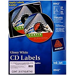 Avery CD Labels, Inkjet Glossy, 20 Pack, White (8942)