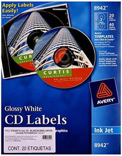 Avery CD Labels, Inkjet Glossy, 20 Pack, White (AVE8942) ()