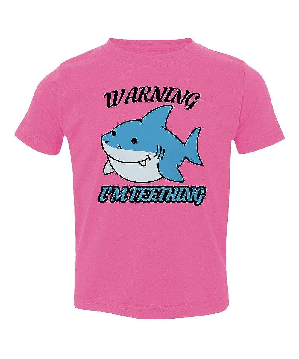 Societee Warning Im Teething Funny Shark Cute Little Kids Girls Boys Toddler T-Shirt
