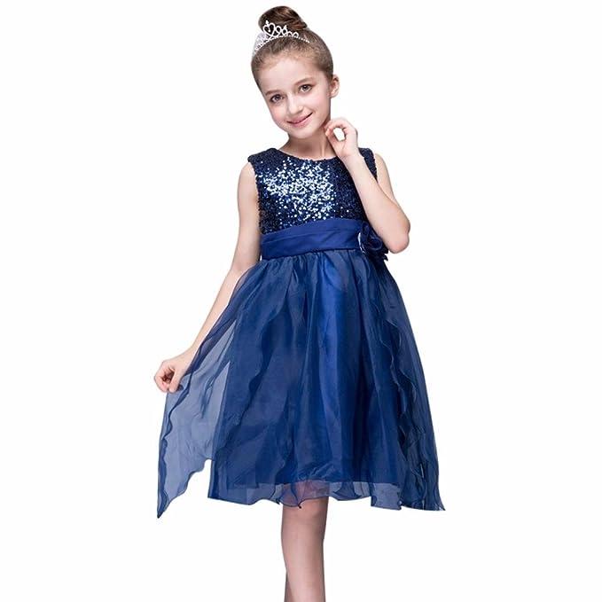 Lenfesh Elegantes Vestidos para Niñas Sin Mangas de Fiesta Boda de Cumpleaños Mini Vestidos de Princesa con Lentejuelas: Amazon.es: Ropa y accesorios