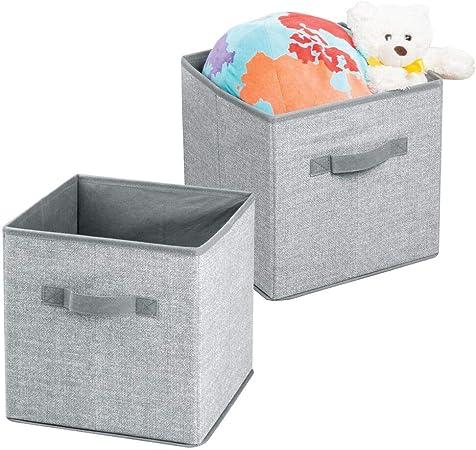 mDesign Caja para organizar juguetes - Caja de tela para artículos de bebé y niños - Organizador de tela para mantas, ropa o juguetes - Juego de 2 unidades - gris: Amazon.es: Hogar
