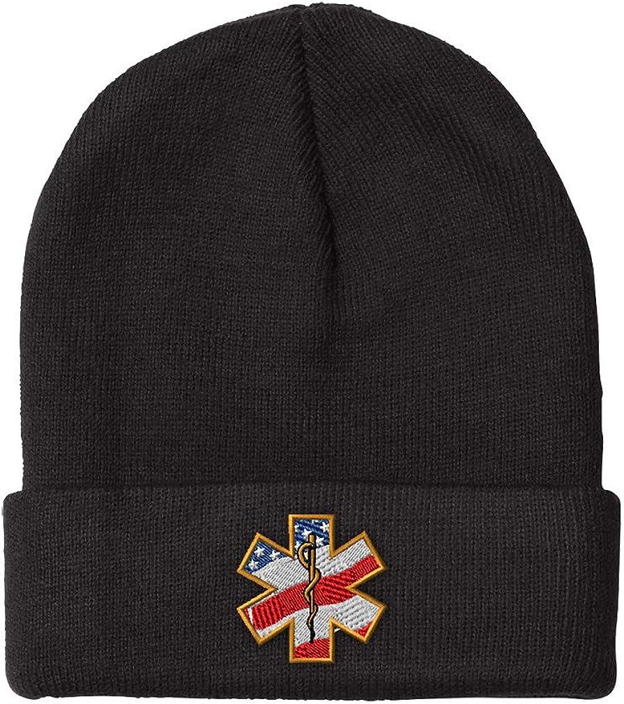 Custom Beanie for Men & Women American Flag Embroidery Acrylic Skull Cap Hat Black Design Only: Clothing