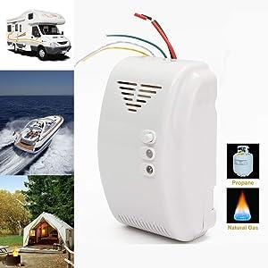 Propane | Natural Gas Detector, Gas Leak Detection, Home Gas Alarm, High Sensitivity LPG LNG Coal Natural Gas Leak Detection, Alarm Monitor Sensor for Motorhome | Camper | Marine (12V)