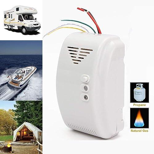 Propane Natural Gas Detector, Gas Leak Detection, Home Gas Alarm, High Sensitivity LPG LNG Coal Natural Gas Leak Detection, Alarm Monitor Sensor for Motorhome Camper Marine 12V