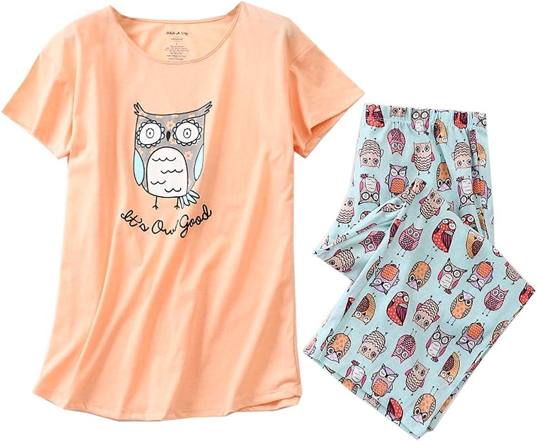 Cute Print Cotton Tops with Capri Pants Pajama Sets MIA LUCCE Womens Sleepwear