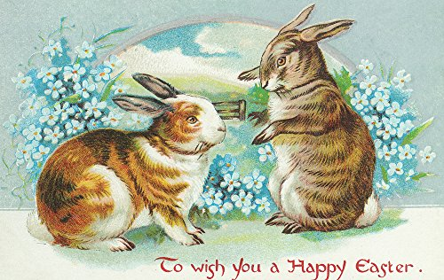 Bunnies Wishing A Happy Easter - Vintage Artwork