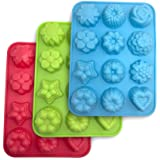 SourceTon Flowers Silicone non-Stick Mold, 3-Pack of Bake Mold for Cake, Jelly, Pudding, Chocolate, Cupcake, 12-Cavity Muffin Pan, Baking Pans with Flowers and Heart shape. - Blue, Green and Red.
