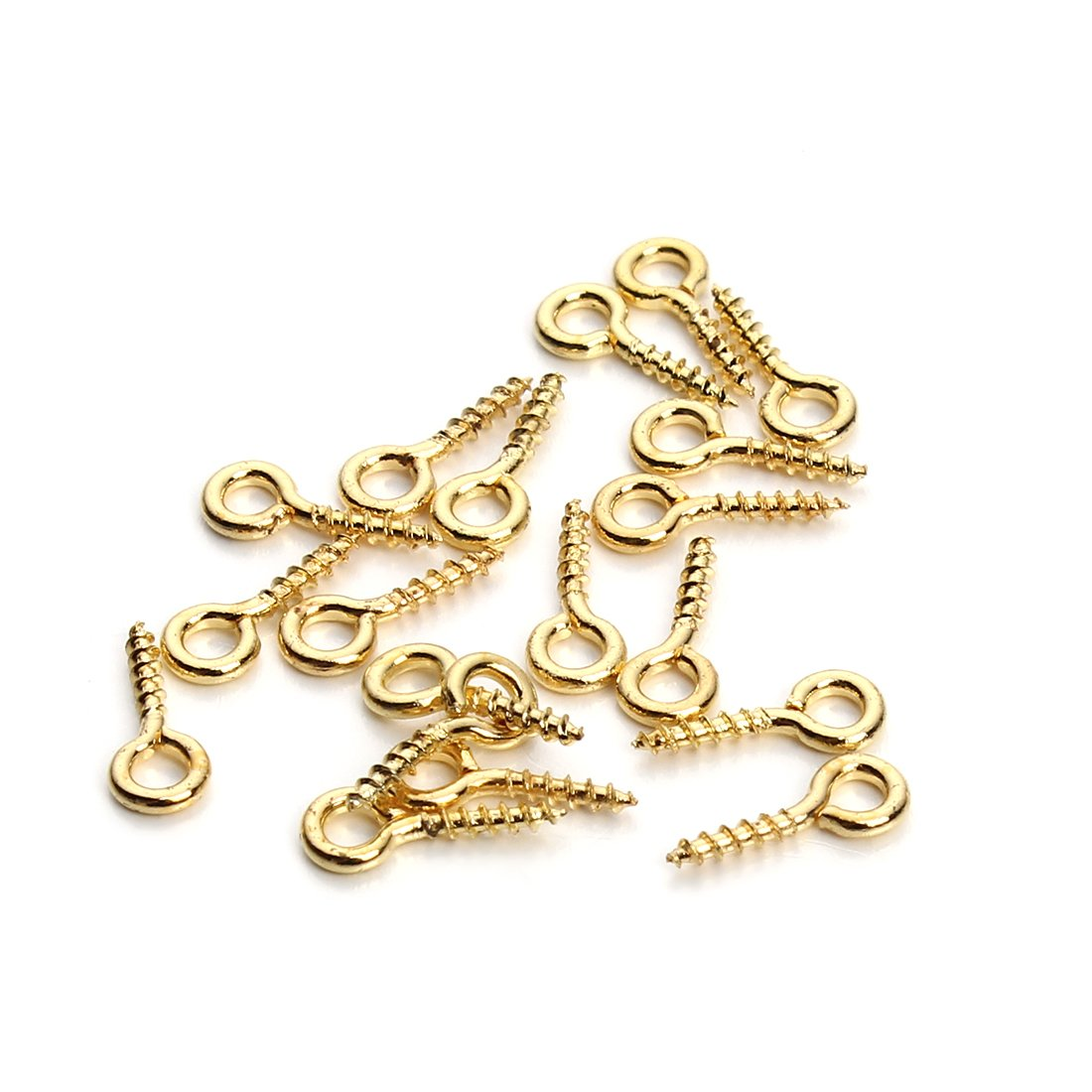 Linsoir Beads 200pcs Sturdy Metal Tiny Screw Eyes Pin Bail Peg Antique Bronze Tone 5X12mm F256AB5X12
