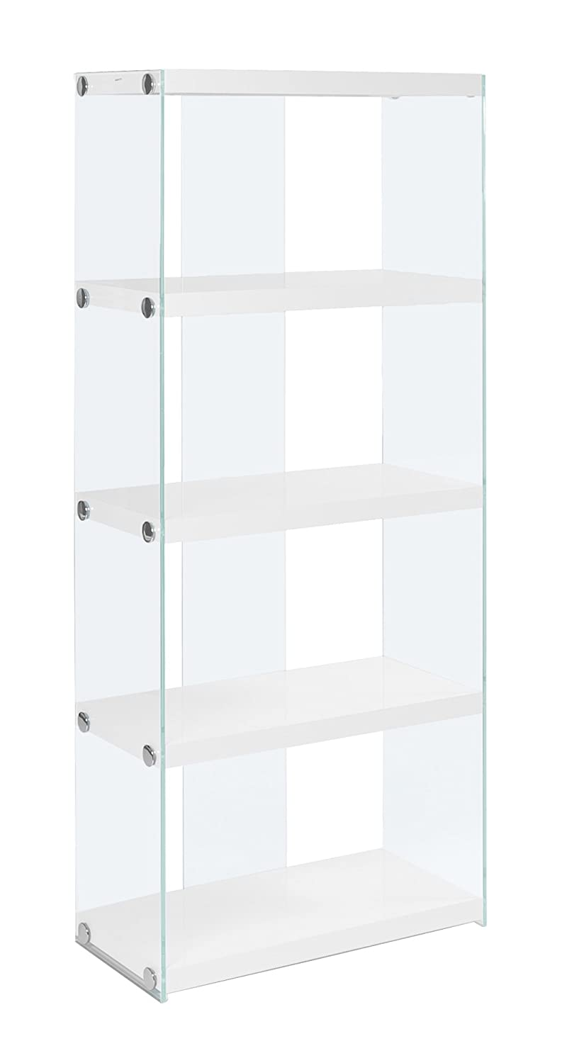 Monarch specialties I 3289, Bookcase, Tempered Glass, Glossy White, 60 H