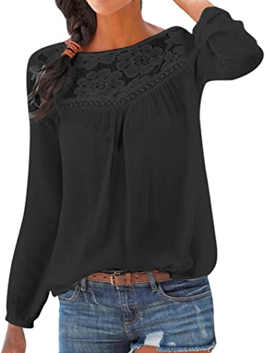 Womens Long Sleeve Lace Floral Tops Slim Shirts Patchwork Blouse Casual T Shirts