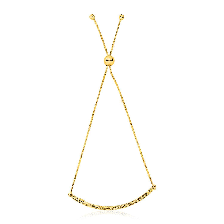 14K Yellow Gold Chain Bar Lariat Style Bracelet