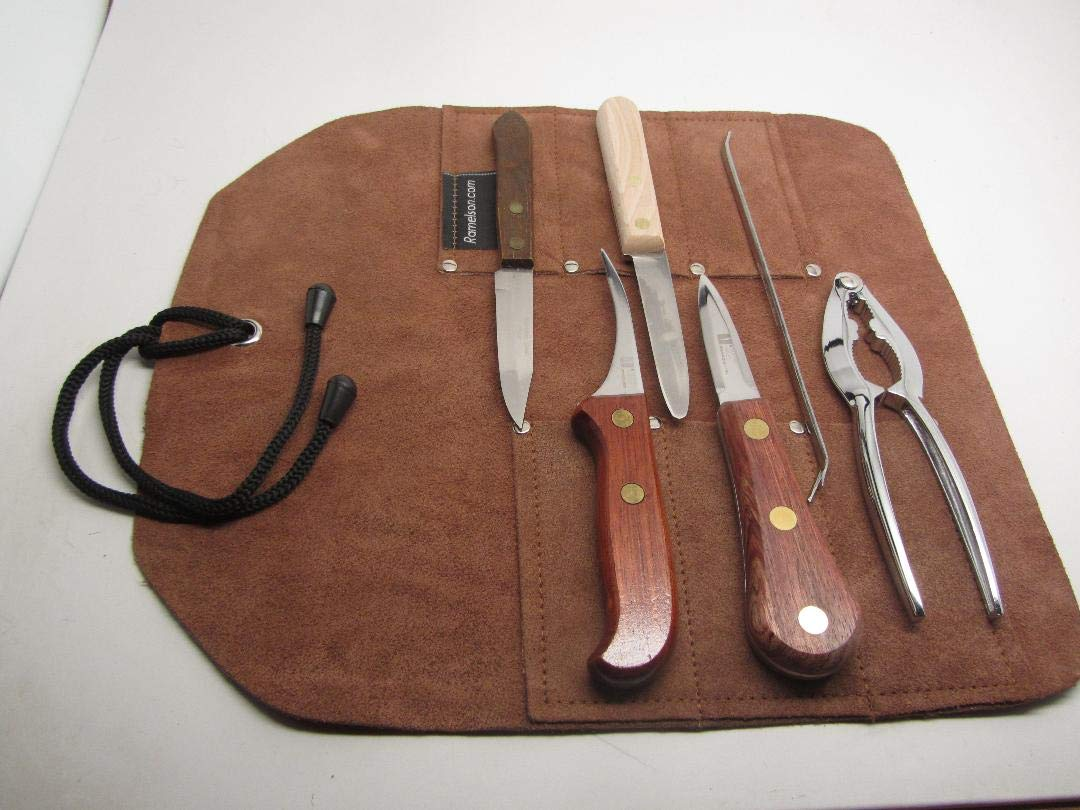 6pc Complete Shucker Kit Crab Oyster Clam Shrimp Lobster Leather Roll by UJ Ramelson Co