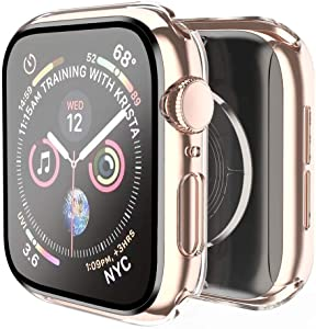 Smiling Case for Apple Watch Series 6/ SE/ Series 5/ Series 4 40mm with Built in Screen Protector- All Around Hard PC Case with Tempered Glass Screen Protector Overall Protective Cover for iwatch (40mm,Clear)
