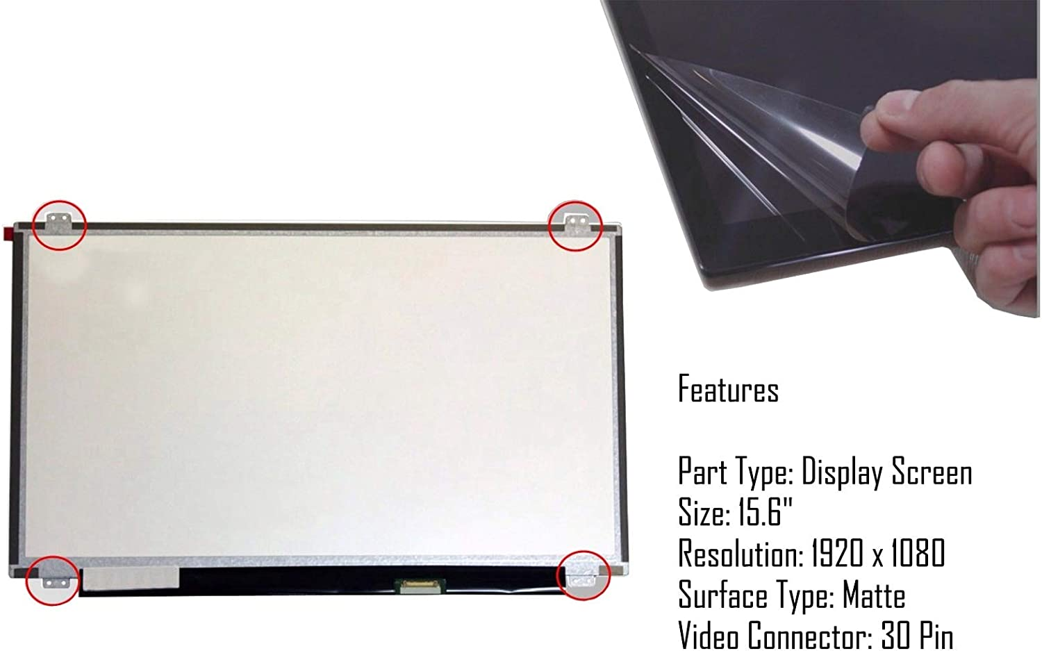 AJPARTS UK@ New Replacement For Acer ASPIRE 3 A315-31-P3SX,ASPIRE 3 A315-31-P6Q3,ASPIRE 3 A315-31-P72U Laptop Screen 15.6 Slim LED LCD FHD 1920 X 1080 Display Razor 30 Pin Matte Panel Non Touch