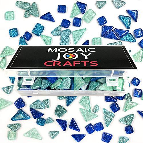Mosaic Tiles for Crafts Blue Assorted Color Glass Glitter Mosaic Supplies Pieces Bulk Assorted Shape Triangle Diamond by Mosaic Joy (Blue, - Tile Supplies Mosaic