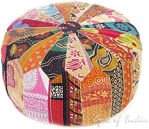 Eyes of India – 24 X 10 Large Colorful Vintage Kantha Round Ottoman Pouf Pouffe Cover Floor Seating Boho Chic Bohemian Accent Indian Handmade Cover ONLY