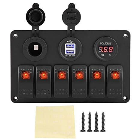 KIMISS 12 V//24 V 6 Gang Rocker Switch Panel Schalttafel f/ür Auto Boot Universal