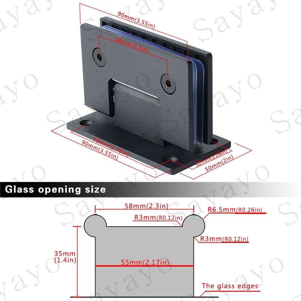 Sayayo Charni/ère en verre /à pince /à verre de 90 degr/és mont/ée au mur EBL5500-B verre adaptatif de 8 /à 12 mm acier inoxydable /épais de 4 mm noir mat