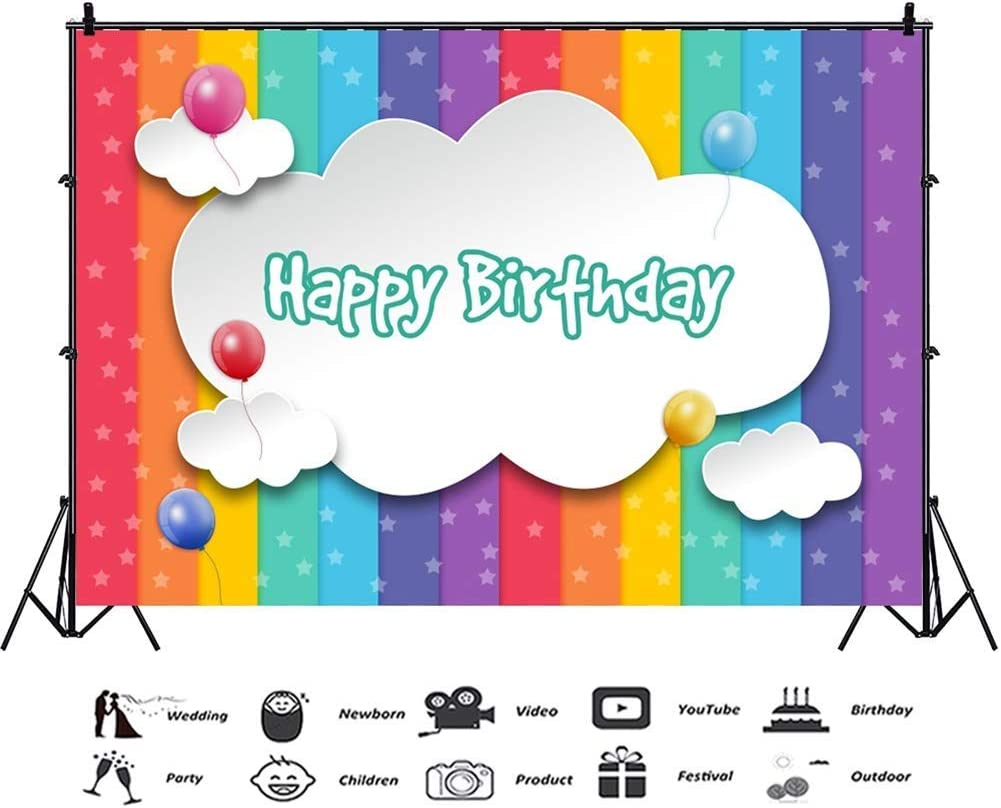 GoHeBe 10x7ft Happy Birthday Vinyl Photography Background White Cloud Banner Balloons Stars Rainbow Colour Striped Backdrops Child Baby Birthday Party Banner Cake Smash Kids Room Wallpaper Studio