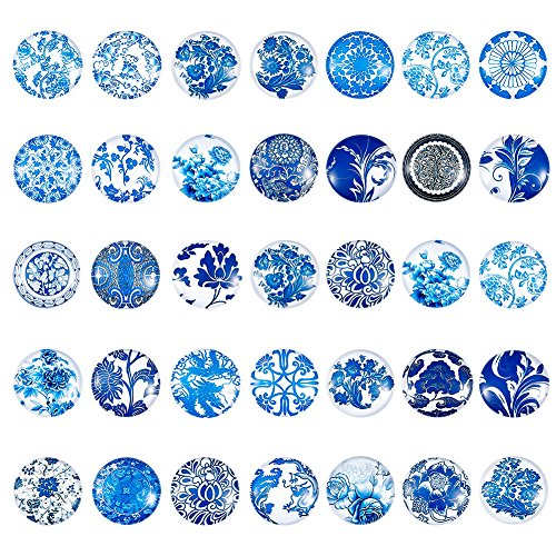 Pandahall 1Box/200Pieces China Style Blue & White Printed Glass Cabochons Flatback Half Round Dome Glued Tiles Mixed Color 12x4mm for Circle Bezel Tray Setting