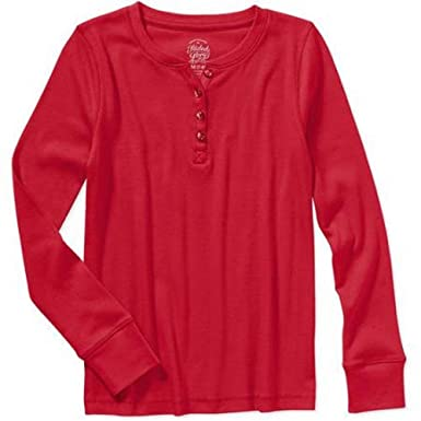 da056feb Faded Glory Junior Girls Long Sleeve Solid Ribbed Jersey Henley Shirt Top  Red Size XS 4