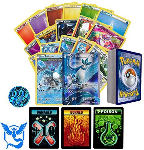 Mystic Collection (Pokemon GO Team Mystic Collection of 50 Random Pokemon Card Lot - Featuring Articuno! Rares - Foils - Energy and Coin! Includes 3 Custom Golden Groundhog Tokens! Comes in Tin)